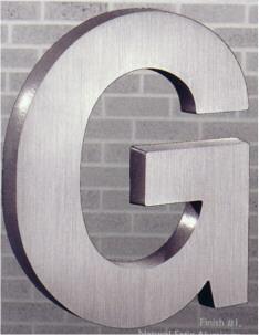 cast metal letter aluminum helvetica g