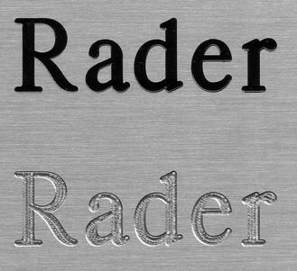 Rader's Engraving - Brass Signs or Plates - Engraved
